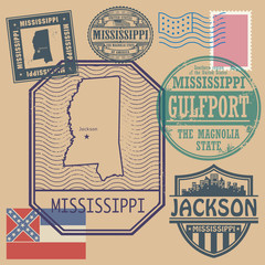 Stamp set with the name and map of Mississippi, United States