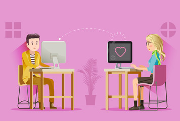 Two teenagers were love on chat online.Send a message to the on the Internet.Love in modern lifestyle.The basic skill of the young love.The social life of the online.Graphic design and EPS 10.