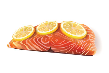 Vector Fresh Salmon Fish Fillet Cooked with Lemon Slices On the Top