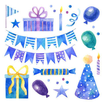 Birthday party set with blue and purple watercolor elements