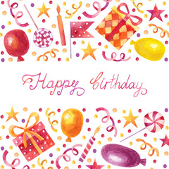 Birthday watercolor card with party elements