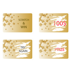 Scratch and win a prize or try again card vector. Lottery ticket in gold color with stars.