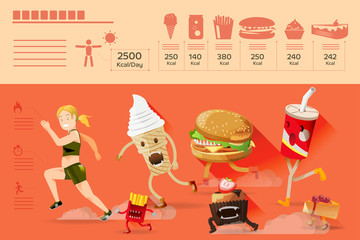 Devils junk-food chasing fat people.Barriers of fat people.Weight loss info-graphic.Who people are dieting,Often tempted by junk food. Illustration for advertise healthy lifestyle.Graphic and EPS 10.