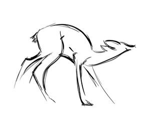 Doe standing. Sketch Vector illustration.