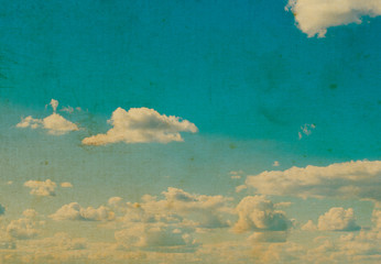 Poster Retro white fluffy clouds in the blue sky