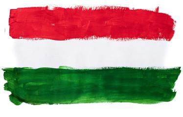 Нарисованный разноцветными красками флаг Венгрии