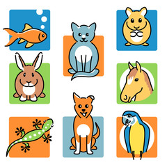 8 popular pet animals icons