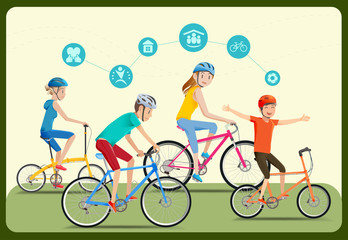 The family was spending the holiday together.The happy family in the summer.Cycling in the park.The cycling team.Reducing energy use in city.The family care.Graphic design and vector EPS 10.