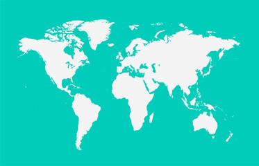 World map vector flat white