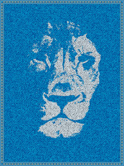 Lion on a jeans background