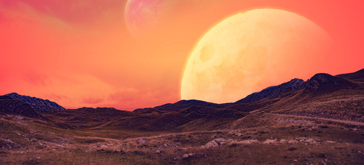 Fototapeta Krajobraz planety androidów z widokiem na księżyce. obraz