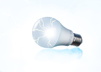 white bulb with electric energy