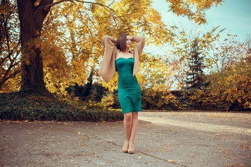 portrait of a beautiful young woman in a autumn park. pictures i