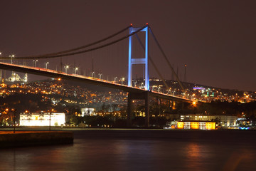 Foto op Plexiglas Panoramafoto s ISTANBUL, TURKEY - february 2016: Evening view of the Bosphorus Bridge. The coast of the Bosphorus. Fatih Sultan Mehmet Bridge - Stock Image