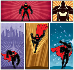 Superhero Banners 5 / Set of 5 superhero banners. No transparency and gradients used.