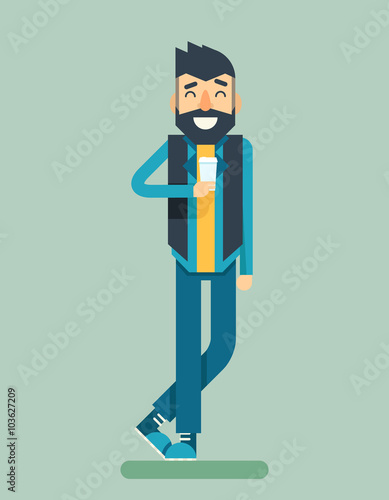 Happy Smiling Adult Man Geek Hipster Character Listen Music Player