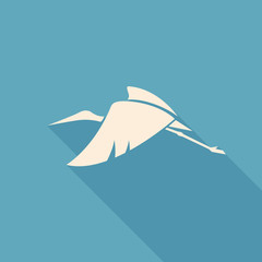 flying stork sign logo emblem on a blue background vector illust