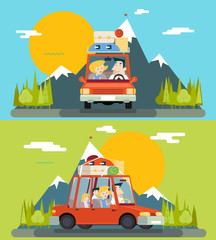 Car Trip Family Adult Children Road Concept Flat Design Icon Mountain Forest Background Vector Illustration