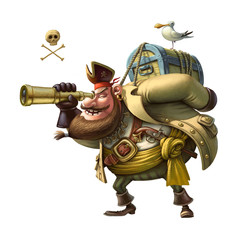 Funny character Pirate. Illustration.