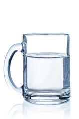 Glass water on white background