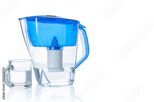 Water filter pitcher and glass on white background stock photo and royalty free images on - Glass filtered water pitcher ...