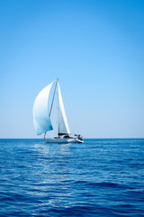 Sailing. Ship yachts with sails in the open Sea. 1
