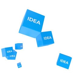 IDEA word on colored cubes, creative business concept