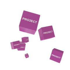 PROJECT word on colored cubes, creative business concept