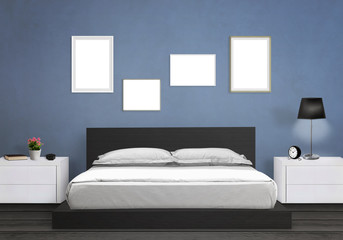 Isolated art frames in bedroom. Bed, nightstand, lamp, plant, clock.