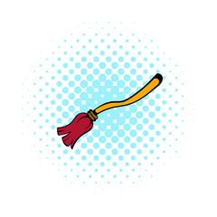 Witches broom icon, comics style