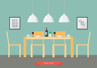 Flat Design Interior Dining Room