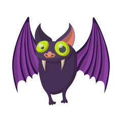 Purple bat icon, cartoon style