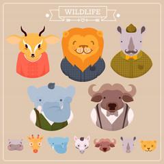African animals: elephant, hippopotamus, rhinoceros, lion, giraffe, zebra, buffalo in vector. Funny cartoon animals in bright colors. Childish set