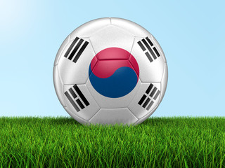 Soccer football with South Korean flag. Image with clipping path
