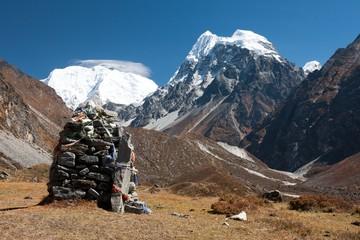 Fototapete - Prayer Flags in Langtang Valley, Himalayas, Nepal