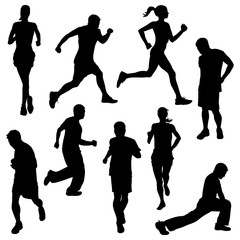 various running poses in silhouette vector