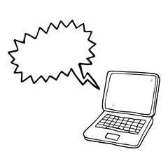 speech bubble cartoon laptop computer with heart symbol on scree