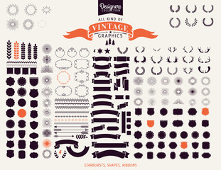 Premium design elements. Starbursts, frames and ribbons Designers Collection