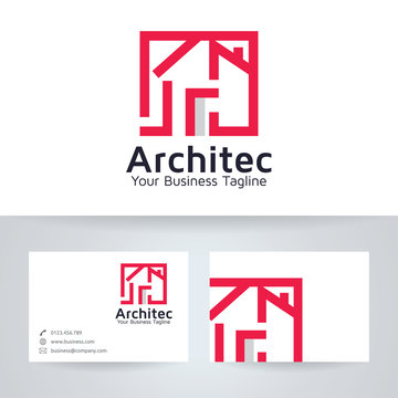 Architect House vector logo with business card template