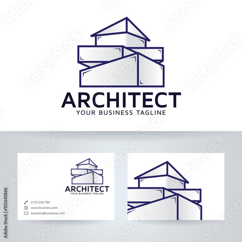 Architecture company vector logo with business card for Architecture design company