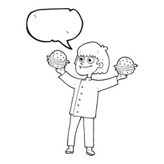 speech bubble cartoon chef with burgers