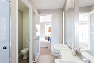 View of a modern bathroom with toilet and way to the bedroom