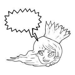 speech bubble cartoon woman with blowing hair