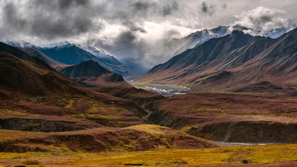 A braided river channel emerges from high mountains in Denali National Park.