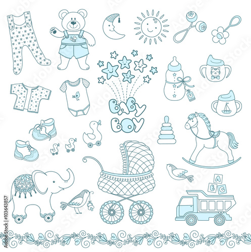Set Of Cute Blue Baby Boy Things Vector Contour