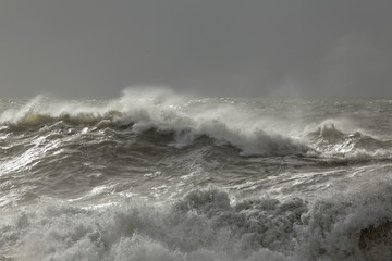 Stormy sea waves with winter light