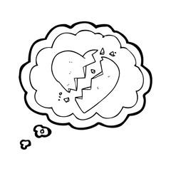 thought bubble cartoon broken heart