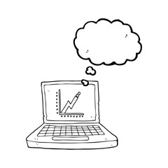 thought bubble cartoon laptop computer with business graph