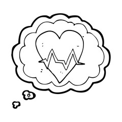 thought bubble cartoon heart rate pulse symbol