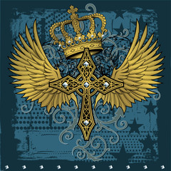 vector gold cross and wings celtic royal tiger graphic